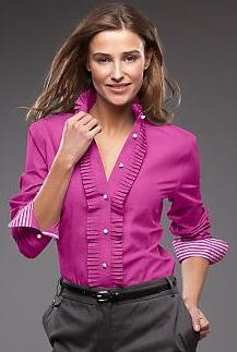 Talbots Peony Ruffled Placket Shirt
