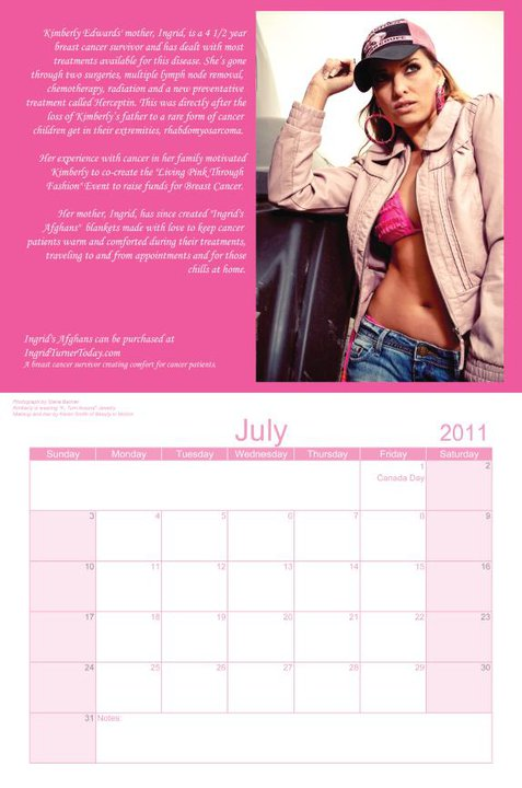 Kimberly Edwards - Miss July in 2011 Living Pink Through Fashion Calendar for Breast Cancer