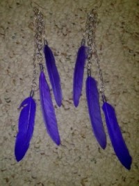 "Triple Feather Chain Danlge Earrings in Purple from ""K, Turn Around"" Jewelry by Kimberly Edwards"