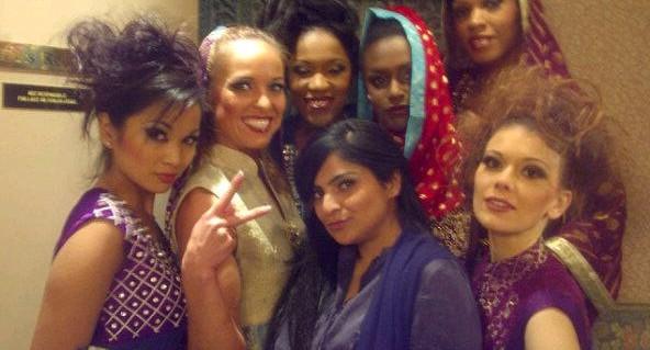 Dhaagay by Madiha Malik Runway Behind Scenes - Models: Eunice Arbis, Kimberly Edwards, Amanda Forde, Andrene Parris, Whitney Arrindell, Tyna Kottova with designer, Madiha Malik in centre