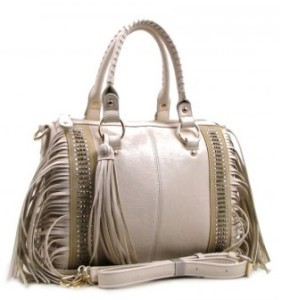 Fringe Decorated Satchel - wholesalehandbags1.com