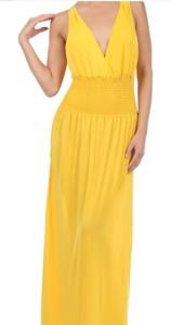 Long V-Neck Dress - fashionemall.com