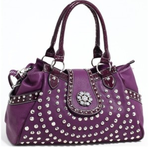 Western Studded Alligator Trim Satchel - mezonhandbags.com